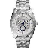 FOSSIL 領航者三眼計時腕錶-銀/45mm FS5324