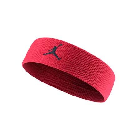NIKE JORDAN JUMPMAN 單色頭帶-飛人喬登 籃球 NBA 一條入 紅黑 F