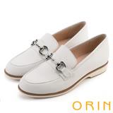 ORIN 懷舊復古學院風 質感五金飾釦牛皮平底鞋-白色