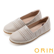 ORIN 引出度假氣氛 玩味異國風圖騰平底便鞋-米色