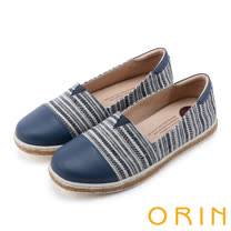 ORIN 引出度假氣氛 玩味異國風圖騰平底便鞋-藍色