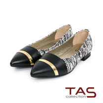 TAS 一字金屬飾片拼接尖頭娃娃鞋-針織白