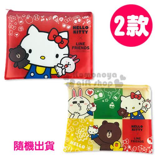 〔小禮堂〕Kitty X Line熊大 A4單層文件資料袋~L.2款 出貨.紅 黃~網狀透