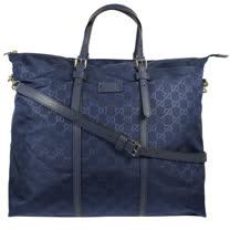 GUCCI 經典雙G緹花尼龍皮飾邊兩用旅用大購物包.深藍