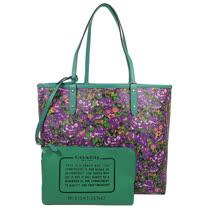 COACH 馬車LOGO花海圖案雙面大購物托特包.紫/綠 F57667