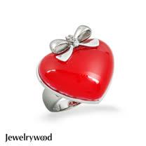 Jewelrywood 甜美紅心蝴蝶結戒指