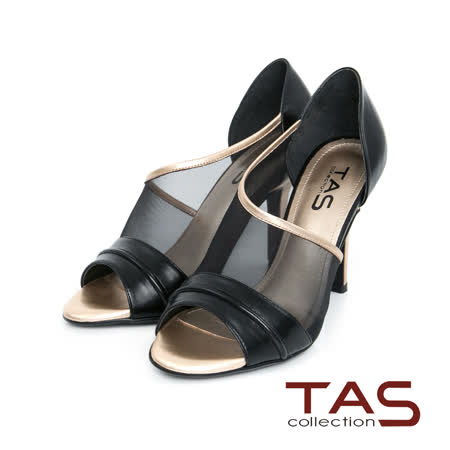 TAS 透膚網紗側鏤空高跟涼鞋-時尚黑