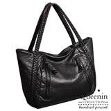 DF Queenin日韓 - 時尚編織柔軟皮革款大容量手提肩背包