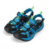 (大童) LOTTO 護趾插扣涼拖鞋 黑藍 童鞋 鞋全家福