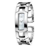 瑞士 Calvin Klein 珍珠母貝白面高雅時尚手鐲型女錶 (K3Y2S11T)