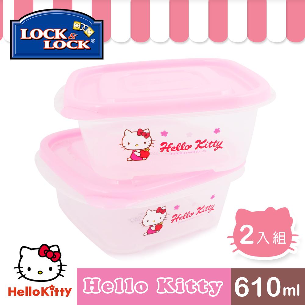 ~樂扣樂扣~HELLO KITTY EZ Lock保鮮盒610ML~二入組