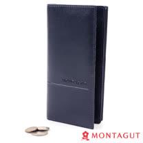 【MONTAGUT夢特嬌】頭層牛皮真皮 長夾-14卡1照2夾1隱藏式零錢袋-689