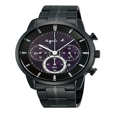 【agnes b】神秘太陽能時尚腕錶(紫x黑/40mm V175-0CE0T)