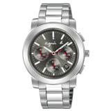 【agnes b】時尚科技感三眼時尚鋼帶腕錶(38mm/V654-KP30N/BT3030X1)