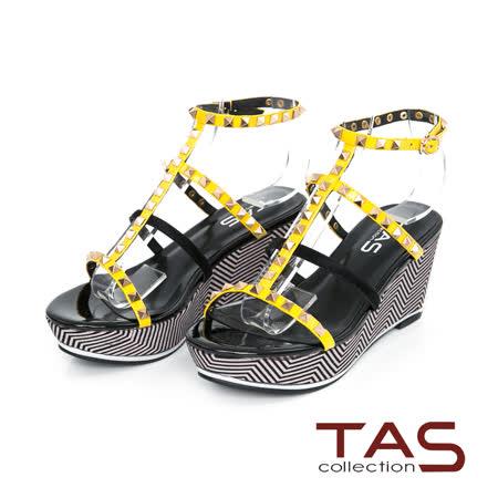 TAS 鉚釘馬毛繫帶楔型羅馬涼鞋-亮麗黃