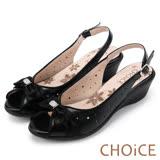 CHOiCE 舒適甜美優雅 牛皮拼接羊絨蝴蝶結坡跟魚口鞋-黑色