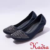 kadia.優雅舒適鑲鑽方頭楔型鞋(7003-58藍)