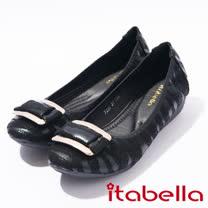 itabella.方釦條文低跟娃娃鞋(7230-98黑)