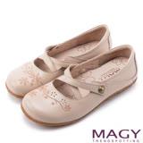 MAGY 時尚舒適休閒 真皮Q軟花朵縫線平底包鞋-粉紅