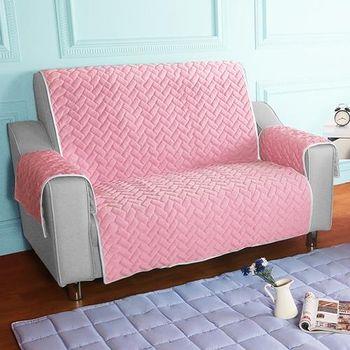 HomeBeauty 進階涼感沙發保潔墊 2人座嫩粉櫻