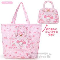 〔小禮堂〕美樂蒂 x DEARISIMO 提包造型環保購物袋《粉.花.站姿.蕾絲》