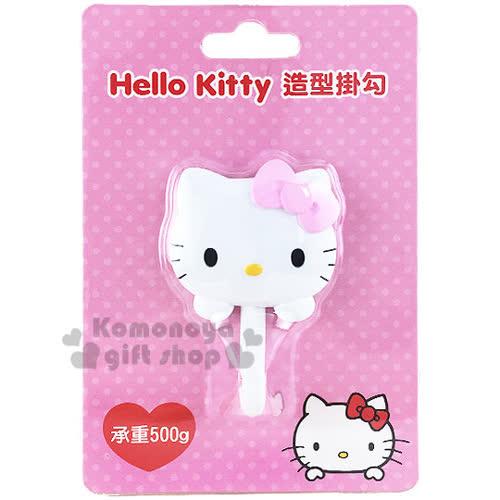 〔小禮堂〕Hello Kitty 貼式 掛勾《粉蝴蝶結.大臉.泡殼》耐重500g