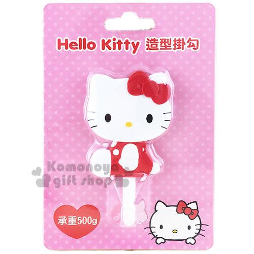 〔小禮堂〕Hello Kitty 貼式 掛勾《紅.側坐.泡殼》耐重500g