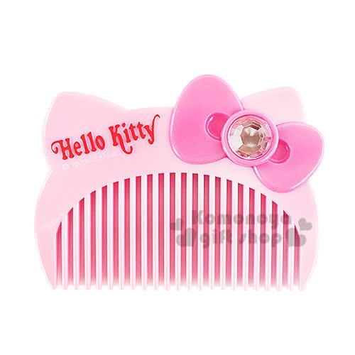 〔小禮堂〕Hello Kitty 平扁梳子《粉.大臉.盒裝》