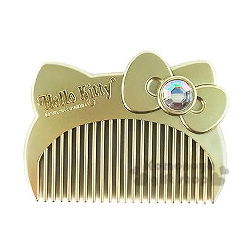 〔小禮堂〕Hello Kitty 平扁梳子《金.大臉.盒裝》