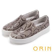 ORIN 引出度假氣氛 超纖蛇紋平底便鞋-米色
