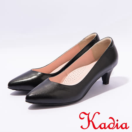 kadia.OL小羊皮素面高跟尖頭鞋(7021-91黑)