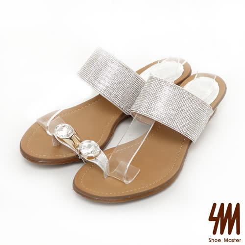 SM~晶鑽系列~寶石指環細鑽低跟楔型拖鞋~銀色