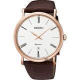 SEIKO 精工 Premier 超薄石英手錶-銀x玫瑰金框/40mm 7N39-0CA0J(SKP398J1)