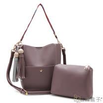 【法國盒子】魅力典藏配色流蘇織帶三用包(藕紫)0833
