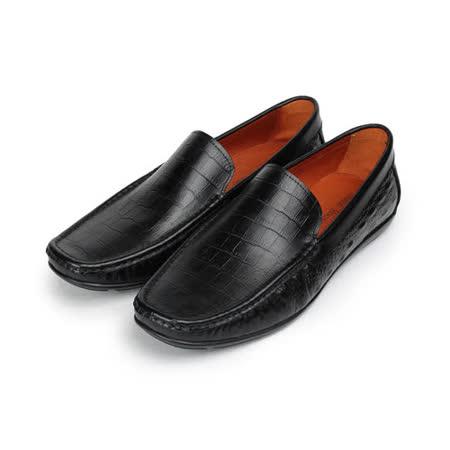 (男) Jason House 鱷魚壓紋套式休閒皮鞋 黑 男鞋 鞋全家福