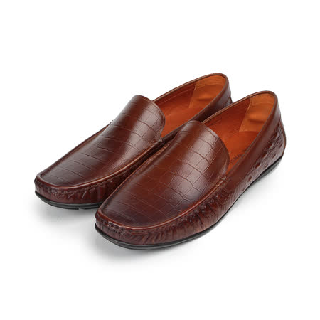 (男) Jason House 鱷魚壓紋套式休閒皮鞋 棕 男鞋 鞋全家福