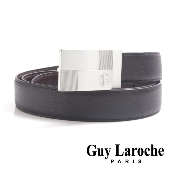 Guy Laroche 姬龍雪~ 幾何線條 紳士皮帶  銀色  ~ 十字紋義大利牛皮