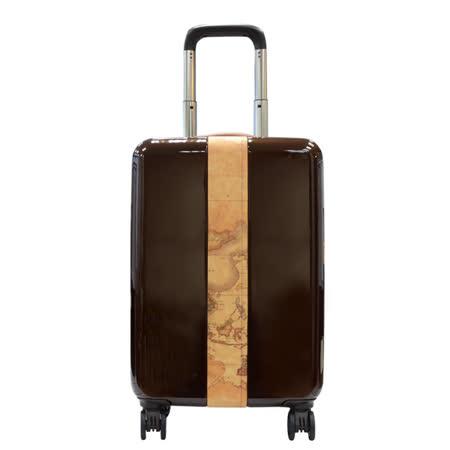 Alviero Martini 義大利地圖包 壓克力/帆布條行李箱(18吋)-咖啡
