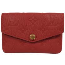 Louis Vuitton LV M60634 經典花紋全皮革壓紋鑰匙零錢包.紅 現貨