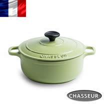 法國【CHASSEUR】獵人琺瑯鑄鐵彩鍋24cm(開心果綠) 加贈橄欖木圓攪拌匙