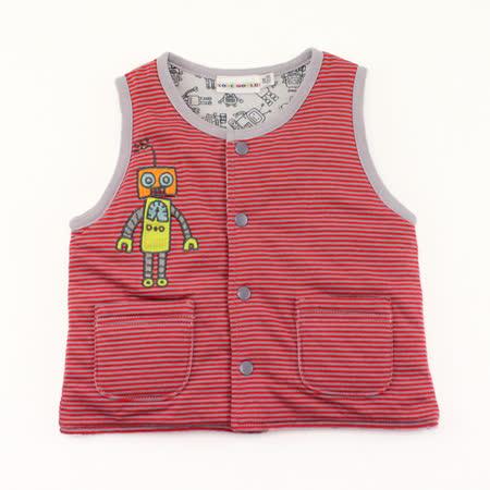 【愛的世界】LOVEWORLD 機器人系列鋪棉兩面穿背心-紅色/4~8歲-台灣製-