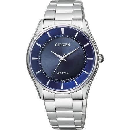 CITIZEN 星辰 光動能 簡單時尚不鏽鋼 石英錶-藍x銀/36mm-BJ6480-51L