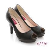 【effie】優雅氛圍 全真皮壓紋拼接魚口跟鞋(黑)