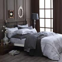 OLIVIA 《 Alexander 銀灰 》 特大雙人床包被套四件組 繡線枕 棉天絲系列