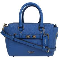COACH SWAGGER 質感荔枝皮革旋釦飾條迷你兩用包.藍