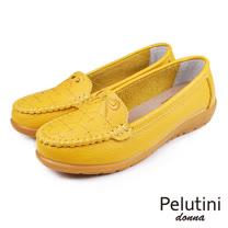 【Pelutini】donna蝴蝶結壓花休閒鞋 黃色(W097-YE)