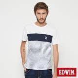 EDWIN 反面印條剪接短袖T恤-男-丈青