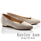 Keeley Ann雅緻低調~排鑽霧面波浪紋全真皮尖頭低跟鞋(米色725372130-Ann系列)