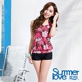 842夏之戀SUMMERLOVE 艷紅長版二件式泳衣(E13796)