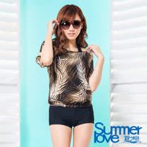 【夏之戀SUMMERLOVE】大女長版印花三件式泳衣S17732